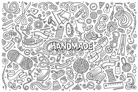 Line art vector hand drawn doodle cartoon set of handmade objects and symbols