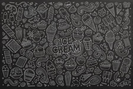 Line art chalkboard vector hand drawn doodle cartoon set of ice cream objects and symbols