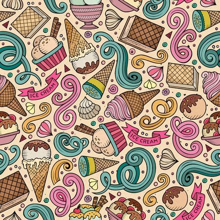 lots: Cartoon hand-drawn ice cream doodles seamless pattern. Colorful detailed, with lots of objects vector background