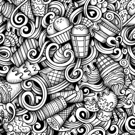 Cartoon hand-drawn doodles ice cream seamless pattern. Line art trace detailed, with lots of objects vector background Ilustração