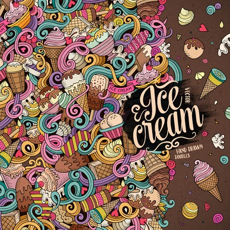 Cartoon hand-drawn doodles Ice Cream illustration. Line art colorful detailed, with lots of objects vector design background