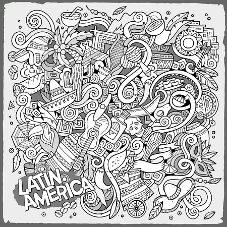 latin american: Cartoon hand-drawn doodles Latin American illustration. Line art detailed, with lots of objects vector background