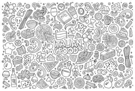 라인 아트 벡터 손으로 그린 낙서 만화 집합 이탈리아 음식 개체 및 기호 일러스트