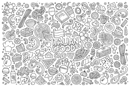 Line art vector hand drawn doodle cartoon set of italian food objects and symbols Illustration