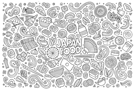 Line art vector hand drawn doodle cartoon set of Japan food objects and symbols