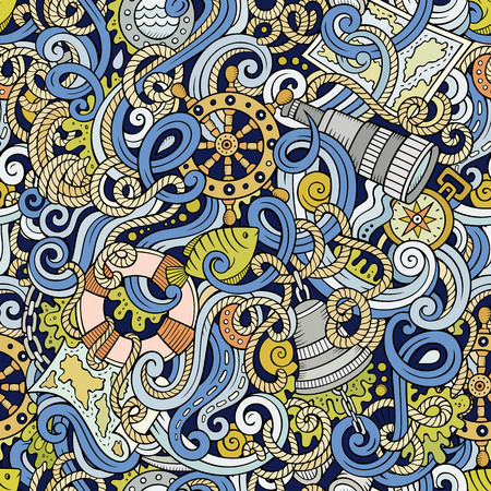 sail fin: Cartoon hand-drawn nautical doodles seamless pattern. Detailed, with lots of objects vector background Illustration