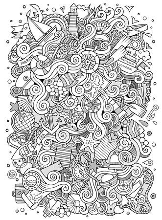 helm boat: garabatos dibujado a mano de dibujos animados náutico, ilustración marina. Incompleto detallada, con una gran cantidad de objetos de fondo vector Vectores