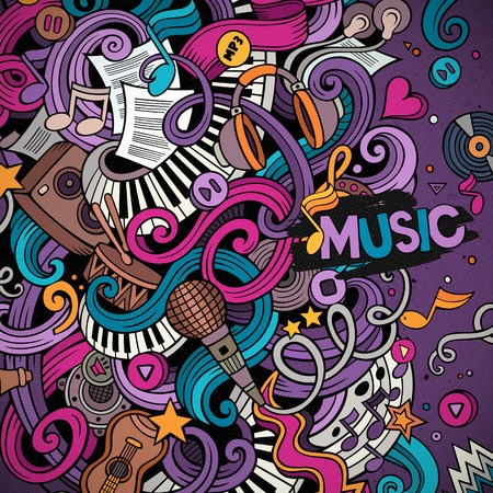 Cartoon hand-drawn doodles Musical illustration. Colorful detailed border, with lots of objects vector background Ilustração