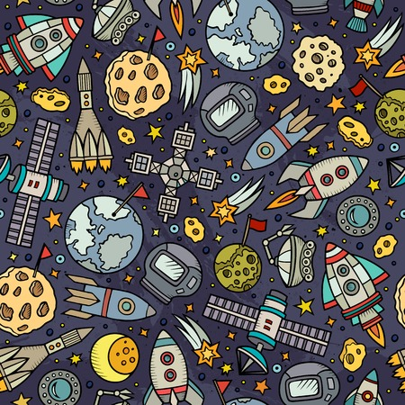 fun background: Cartoon hand-drawn space, planets seamless pattern. Lots of symbols, objects and elements. Perfect funny vector background.