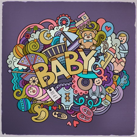 baby mother: Cartoon hand drawn Doodle Baby illustration. Colorful detailed design background with objects and symbols