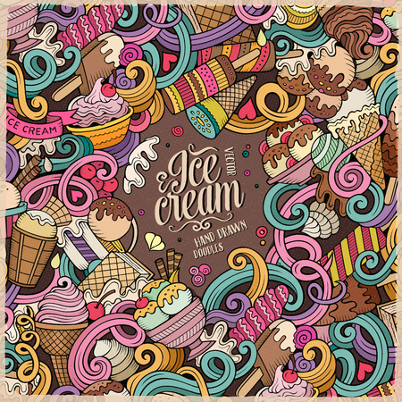 cone: Cartoon hand-drawn doodles Ice Cream illustration. Line art colorful frame detailed, with lots of objects design background