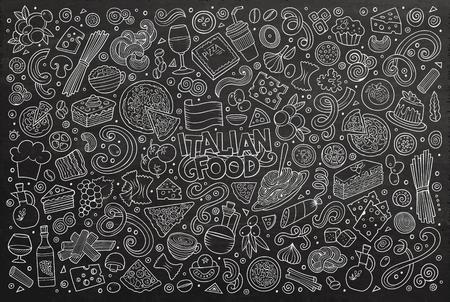 restaurante italiano: Línea arte de la mano pizarra conjunto doodle de dibujos animados de los objetos de la cocina italiana y símbolos