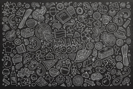 Line art chalkboard hand drawn doodle cartoon set of italian cuisine objects and symbols
