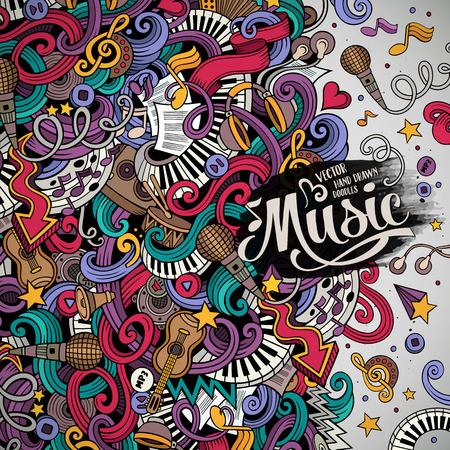 Cartoon rysowane ręcznie doodle Musical ilustracji. Kolorowe szczegółowe, z dużą ilością obiektów tła