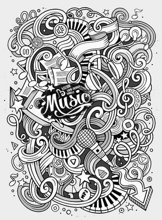 rhythm: Cartoon hand-drawn doodles Musical illustration. Line art detailed, with lots of objects background