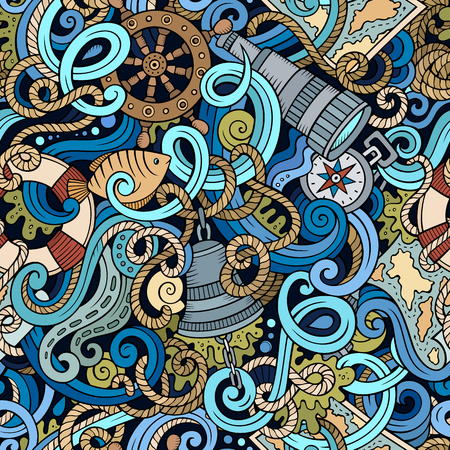 sail fin: Cartoon hand-drawn nautical doodles seamless pattern. Detailed, with lots of objects background