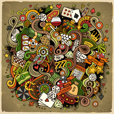 Dibujos animados dibujados a mano garabatos de casino, juegos de azar en la ilustración. Colorido detallado, con una gran cantidad de objetos de diseño de fondo