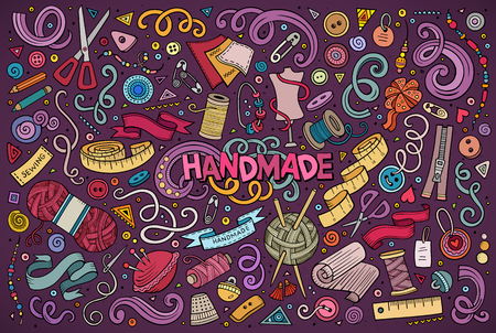 Colorful hand drawn doodle cartoon set of handmade objects and symbols