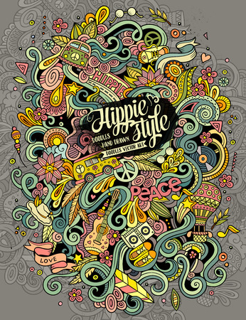 Cartoon hand-drawn doodles hippie illustration. Colorful detailed, with lots of objects background Ilustração