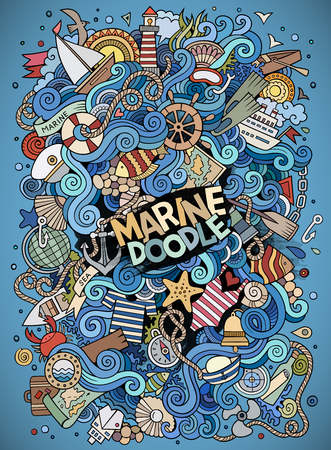 paddle wheel: Cartoon hand-drawn doodles nautical, marine illustration. Colorful detailed, with lots of objects background Illustration