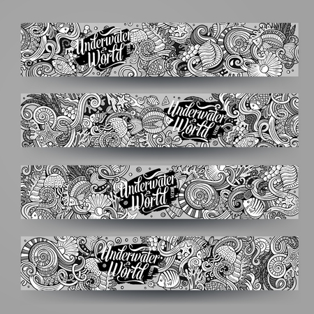 Cartoon hand-drawn underwater life, marine doodle corporate identity. 4 Horizontal banners design. Templates line art set