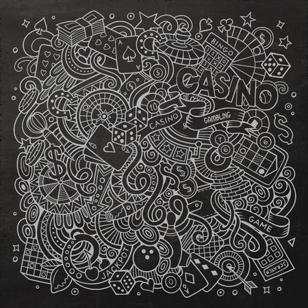 Dibujos animados dibujados a mano garabatos de casino, juegos de azar en la ilustración. Pizarra detalla, con una gran cantidad de objetos de diseño de fondo