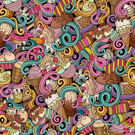 Cartoon hand-drawn ice cream doodles seamless pattern. Colorful detailed, with lots of objects  background Illustration