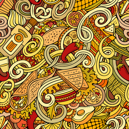 latin american: Cartoon hand-drawn mexican food doodles seamless pattern. Detailed, with lots of objects background