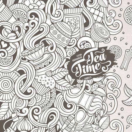 만화 손으로 그린 낙서 카페, 커피 숍 그림입니다. 라인 아트 개체 디자인 배경의 많은, 상세한