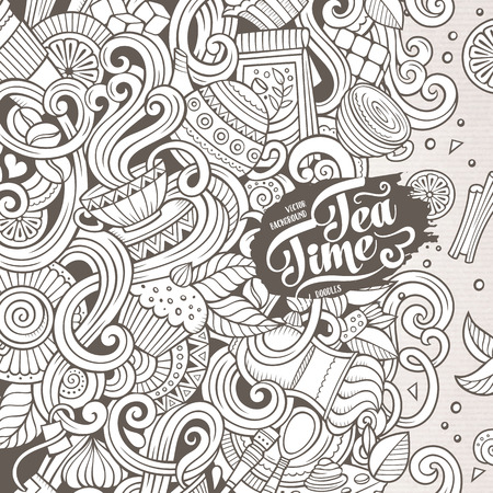 Cartoon hand-drawn doodles cafe, coffee shop illustration. Line art detailed, with lots of objects design background