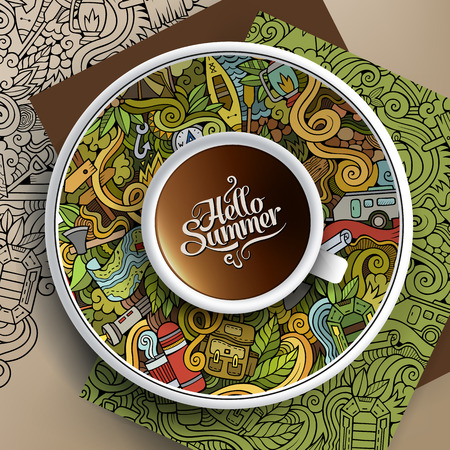 bezel: illustration with a Cup of coffee and hand drawn camp doodles on a saucer, paper and background Illustration