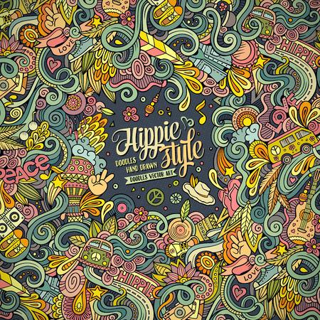 Cartoon hand getekende doodles hippie illustratie. Kleurrijk gedetailleerd, met veel objecten achtergrond Stock Illustratie