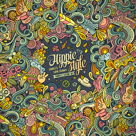 Cartoon hand-drawn doodles hippie illustration. Colorful detailed, with lots of objects background Illustration