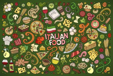 イタリア料理オブジェクトとシンボルのカラフルな手描き落書き漫画セット