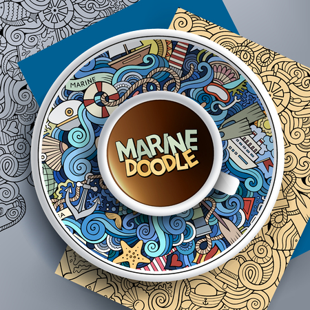bezel: illustration with a Cup of coffee and hand drawn marine doodles on a saucer, paper and background