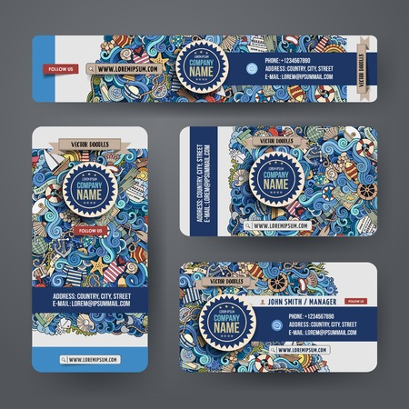 Corporate Identity templates set design with doodles hand drawn maritime theme. Colorful banner, id cards, flayer design. Templates set