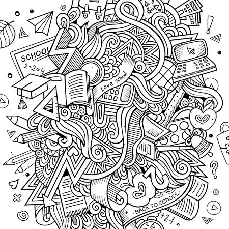 subject: Cartoon hand drawn Doodle on the subject of education. Sketchy design background with school objects and symbols. Illustration