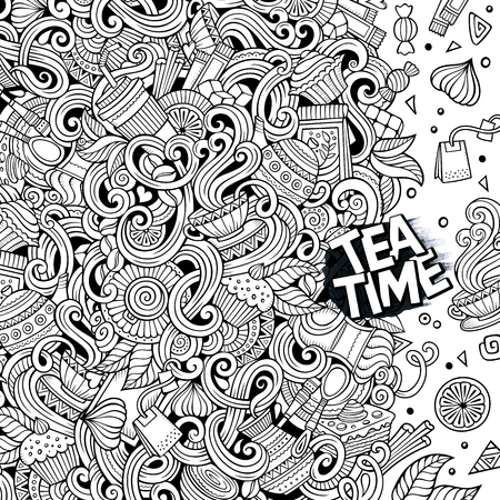 detailed: Cartoon hand-drawn doodles cafe, coffee shop illustration. Line art detailed, with lots of objects vector design background