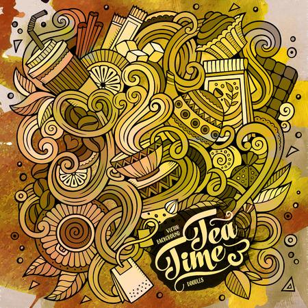 grano de cafe: Mano de la historieta dibuja garabatos de cafetería, tienda de café ilustración. Acuarela detalla, con una gran cantidad de objetos de vectores de fondo de diseño Vectores