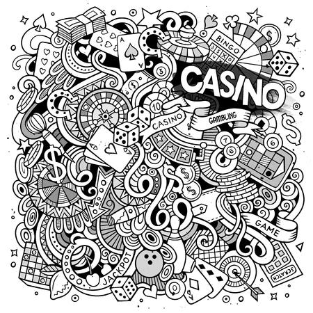 Cartoon handgezeichneten Kritzeleien Casino, Glücksspiel Illustration. Line art ausführlich, mit vielen Objekten Vektor-Design-Hintergrund