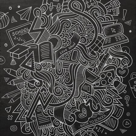 soumis: vecteur de dessin animé tiré par la main Doodle sur le sujet de l'éducation. Sketchy fond de conception avec des objets et des symboles scolaires.