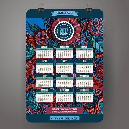 a calendar: Doodles cartoon floral Calendar 2017 year design, English, Sunday start.