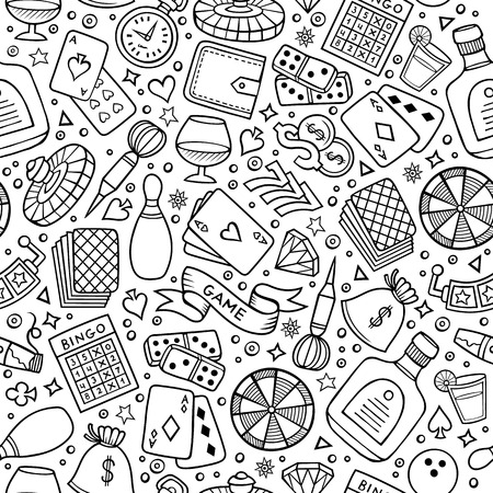 games hand: Cartoon hand drawn casino, games seamless pattern. Lots of symbols, objects and elements. Perfect funny vector background.