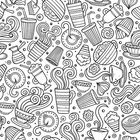 café Cartoon dessiné à la main, thé seamless pattern. Beaucoup de symboles, des objets et des éléments. Parfait drôle vecteur de fond.