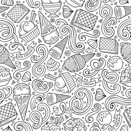 Cartoon hand drawn ice cream seamless pattern. Lots of symbols, objects and elements. Perfect funny vector background. Vetores