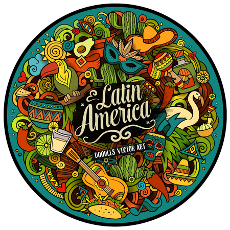 Latin America. Cartoon vector hand drawn Doodle illustration. Colorful detailed round design background with objects and symbols. All objects are separated