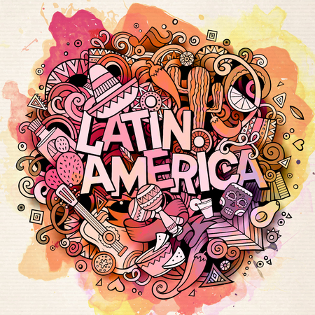 Latin America. Cartoon vector hand drawn Doodle illustration. Watercolor detailed design background with objects and symbols. All objects are separated