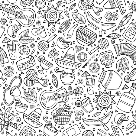 latin american: Cartoon hand drawn latin american seamless pattern. Lots of symbols, objects and elements. Perfect funny vector background. Illustration