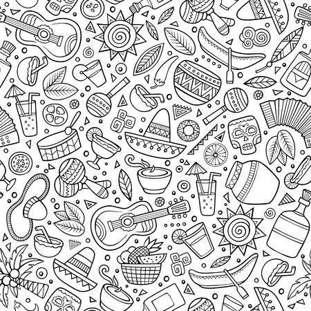 Cartoon tiré par la main latin seamless américain. Beaucoup de symboles, des objets et des éléments. Parfait drôle vecteur de fond. Vecteurs