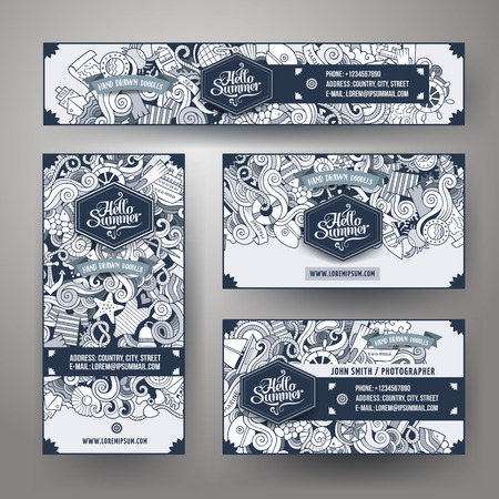 identity: Corporate Identity vector templates set design with doodles hand drawn marine theme. Line art banner, id cards, flayer design. Templates set